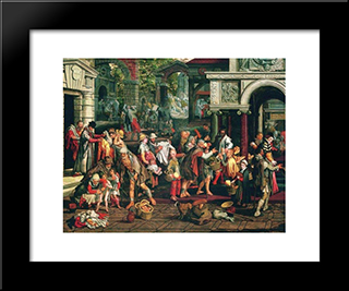 Deeds Of Christian Charity: Modern Black Framed Art Print by Pieter Aertsen