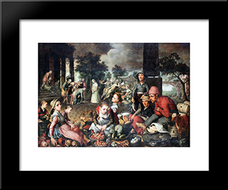 Market With Christ And The Woman Taken In Adultery: Modern Black Framed Art Print by Pieter Aertsen