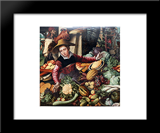 Market Woman At A Vegetable Stand: Modern Black Framed Art Print by Pieter Aertsen