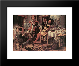 Peasants By The Hearth: Modern Black Framed Art Print by Pieter Aertsen