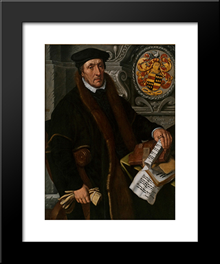 Portrait Of Simon Marten Dircsz: Modern Black Framed Art Print by Pieter Aertsen