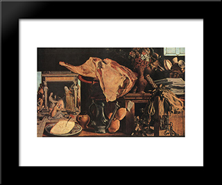 Still-Life: Modern Black Framed Art Print by Pieter Aertsen