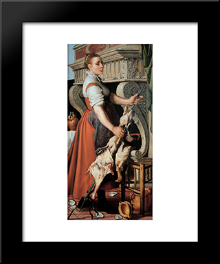 The Cook: Modern Black Framed Art Print by Pieter Aertsen