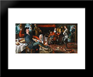 The Egg Dance: Modern Black Framed Art Print by Pieter Aertsen