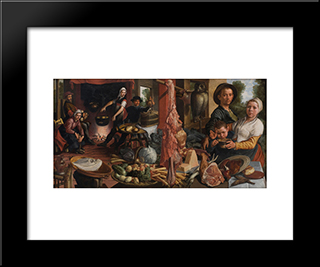 The Fat Kitchen. An Allegory: Modern Black Framed Art Print by Pieter Aertsen