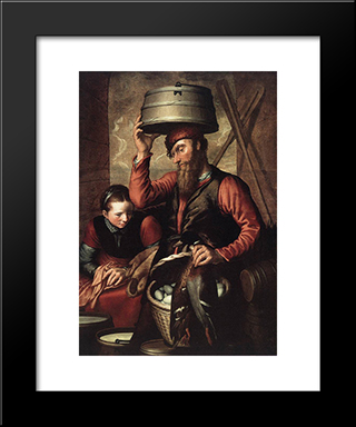Vendor Of Fowl: Modern Black Framed Art Print by Pieter Aertsen