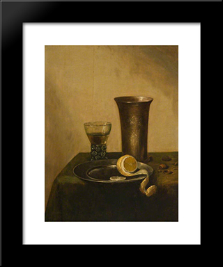 A Silver Beaker, A Roemer And A Peeled Lemon: Modern Black Framed Art Print by Pieter Claesz