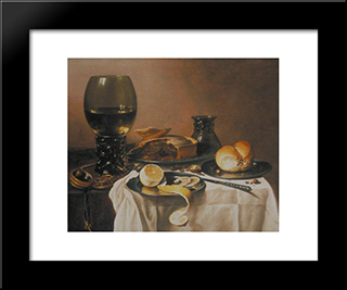 Breakfast Still Life With Roemer, Meat Pie, Lemon And Bread: Modern Black Framed Art Print by Pieter Claesz