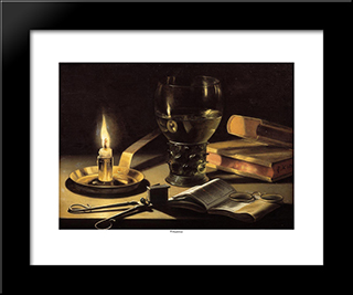Still Life With A Burning Candle: Modern Black Framed Art Print by Pieter Claesz