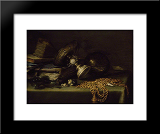 Still Life With A Gold Chain: Modern Black Framed Art Print by Pieter Claesz