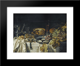 Still Life With A Pie, Basket Of Grapes, Pitcher And Watch: Modern Black Framed Art Print by Pieter Claesz