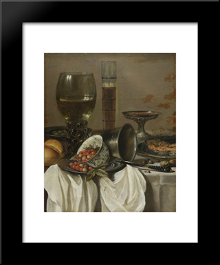 Still Life With Drinking Vessels: Modern Black Framed Art Print by Pieter Claesz