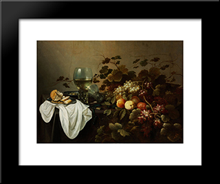Still Life With Fruit And Roemer: Modern Black Framed Art Print by Pieter Claesz