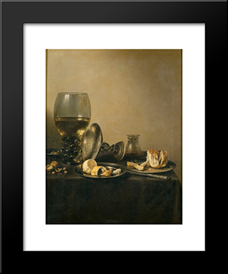 Still Life With Goblet, Silver Tureen And Bread: Modern Black Framed Art Print by Pieter Claesz