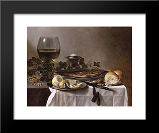 Still Life With Herring, Wine And Bread: Modern Black Framed Art Print by Pieter Claesz