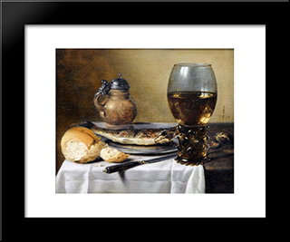 Still Life With Jug, Wine Glass, Herring And Bread: Modern Black Framed Art Print by Pieter Claesz