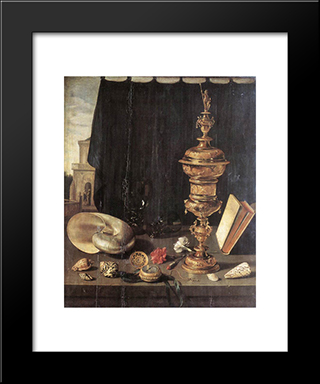 Still Life With Large Goblet: Modern Black Framed Art Print by Pieter Claesz