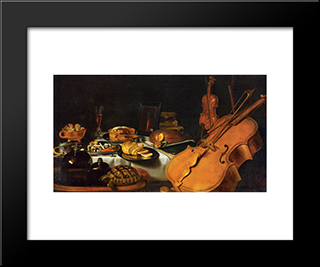 Still Life With Musical Instruments: Modern Black Framed Art Print by Pieter Claesz
