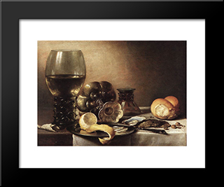 Still Life With Oysters: Modern Black Framed Art Print by Pieter Claesz
