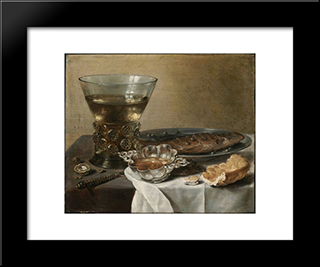Still Life With Silver Brandy Bowl, Wine Glass, Herring And Bread: Modern Black Framed Art Print by Pieter Claesz