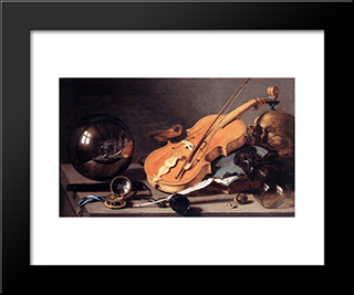 Still Life With Violin And Glass Ball: Modern Black Framed Art Print by Pieter Claesz