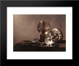 Still Life With Wine Glass And Silver Bowl: Modern Black Framed Art Print by Pieter Claesz