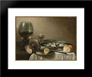 Still Life With Wine Goblet And Oysters: Modern Black Framed Art Print by Pieter Claesz