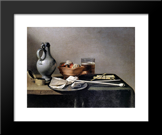 Tobacco Pipes And A Brazier: Modern Black Framed Art Print by Pieter Claesz
