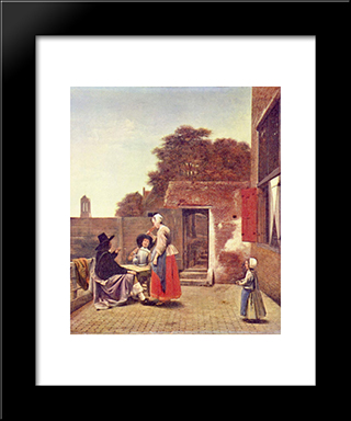 A Dutch Courtyard: Modern Black Framed Art Print by Pieter de Hooch