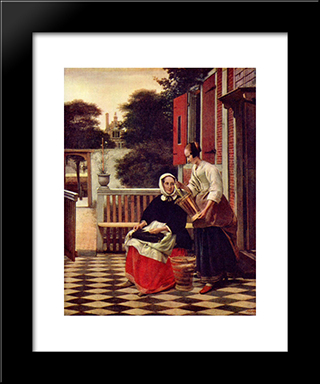 A Mistress And Her Maid: Modern Black Framed Art Print by Pieter de Hooch