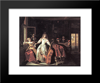 A Musical Conversation: Modern Black Framed Art Print by Pieter de Hooch