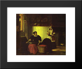 A Sick Child: Modern Black Framed Art Print by Pieter de Hooch