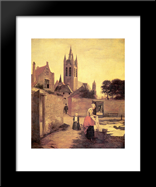 A Woman And A Child On A Bleichwiese: Modern Black Framed Art Print by Pieter de Hooch