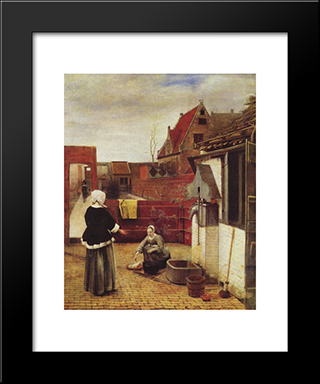 A Woman And A Maid In A Courtyard: Modern Black Framed Art Print by Pieter de Hooch
