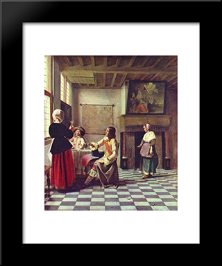 A Woman Drinking With Two Men: Modern Black Framed Art Print by Pieter de Hooch