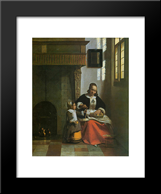 A Woman Peeling Apples: Modern Black Framed Art Print by Pieter de Hooch