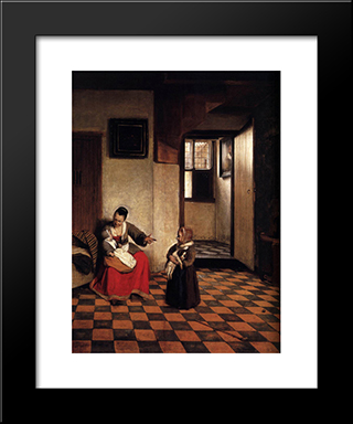 A Woman With A Baby In Her Lap, And A Small Child: Modern Black Framed Art Print by Pieter de Hooch