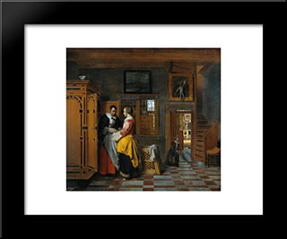 At The Linen Closet: Modern Black Framed Art Print by Pieter de Hooch