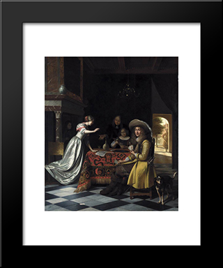 Card Players At A Table: Modern Black Framed Art Print by Pieter de Hooch