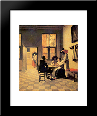 Cardplayers: Modern Black Framed Art Print by Pieter de Hooch