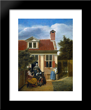 Company In Garden: Modern Black Framed Art Print by Pieter de Hooch