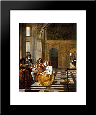 Company Making Music: Modern Black Framed Art Print by Pieter de Hooch