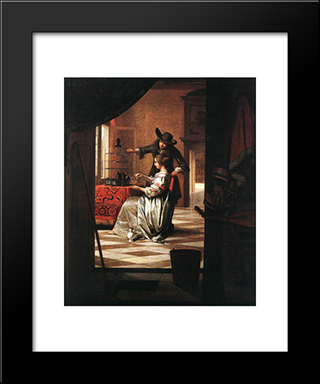 Couple With Parrot: Modern Black Framed Art Print by Pieter de Hooch