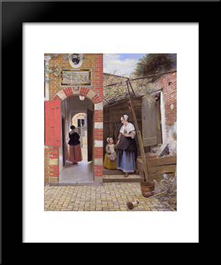 Courtyard Of A House In Delft: Modern Black Framed Art Print by Pieter de Hooch