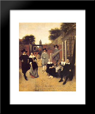 Dutch Family: Modern Black Framed Art Print by Pieter de Hooch