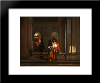 Going For The Walk: Modern Black Framed Art Print by Pieter de Hooch