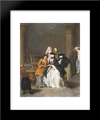 A Fortune Teller At Venice: Modern Black Framed Art Print by Pietro Longhi