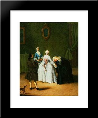 A Nobleman Kissing Lady'S Hand: Modern Black Framed Art Print by Pietro Longhi
