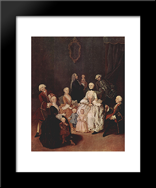 A Patrician Family: Modern Black Framed Art Print by Pietro Longhi