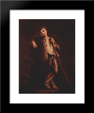 A Shepherd Boy: Modern Black Framed Art Print by Pietro Longhi